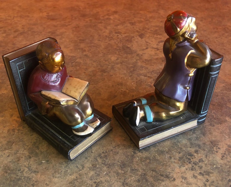 Pair of Metal Clad Art Deco Bookends by Ronson Art Metal Works For Sale 4