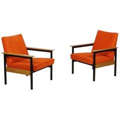 Pair of Tangerine Leather Armchairs  Switzerland, 1960s
