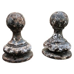 Pair of Metal Garden Post Round Spherical Antique Decorative ball Finials LA CA