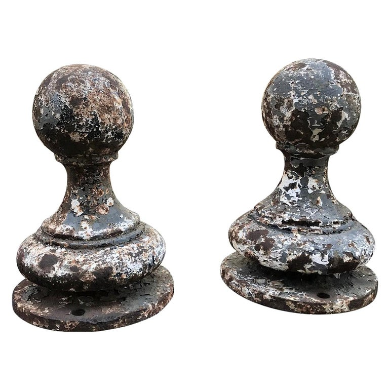 Pair of Metal Garden Post Round Spherical Antique Decorative ball Finials LA CA For Sale