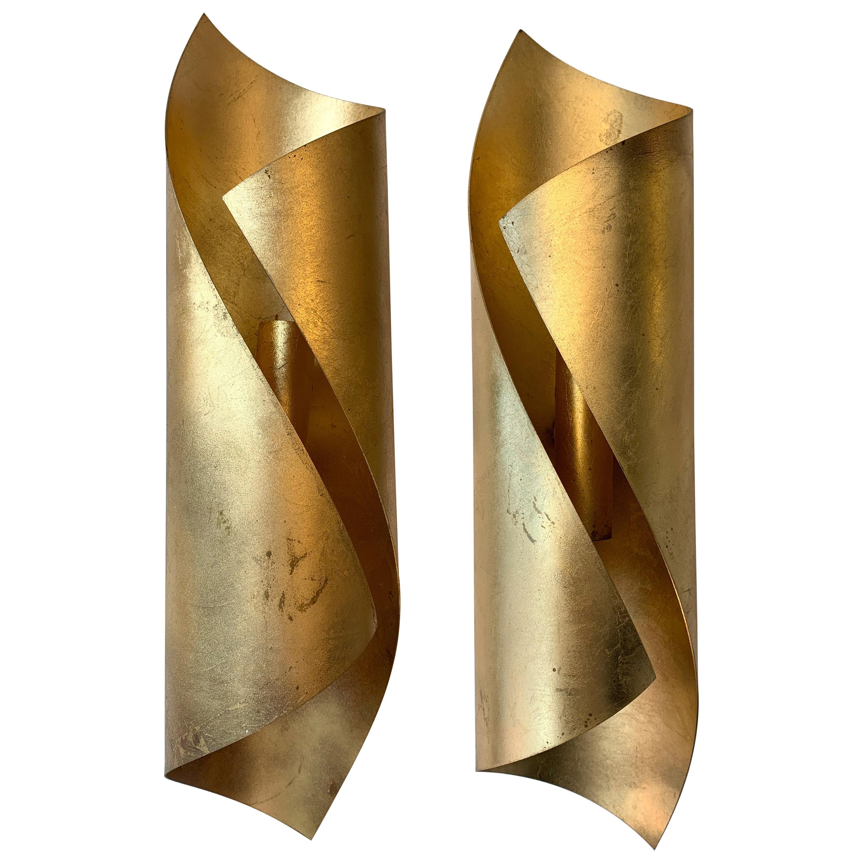 Pair of Metal Gold Leaf Sconces, 1980s