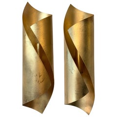 Pair of Metal Gold Leaf Sconces, 1980s