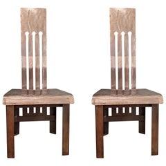 Pair of Metal Industrial Side Chairs