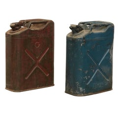 Pair of Metal Military Red and Blue Gasoline Tanks, circa 1950
