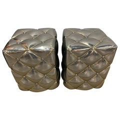 Pair of Metal Poufs Tufted Ottomans Stools Silver and Gold