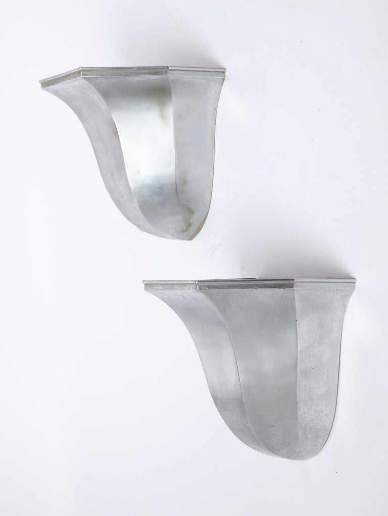 Pair of Metal Tulip-Form Wall Uplights, Modern For Sale 4