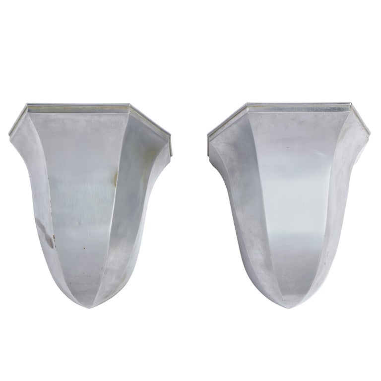 Pair of Metal Tulip-Form Wall Uplights, Modern For Sale