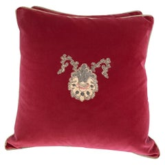Pair of Metallic and Chenille Appliqué Pillows by Melissa Levinson