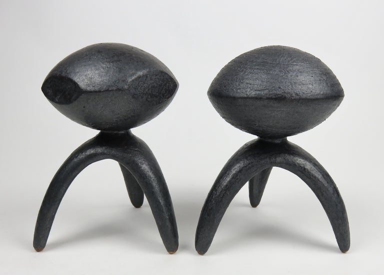 American Pair of Metallic Ceramic Modern TOTEMS, Hand Built by Artist Helena Starcevic For Sale