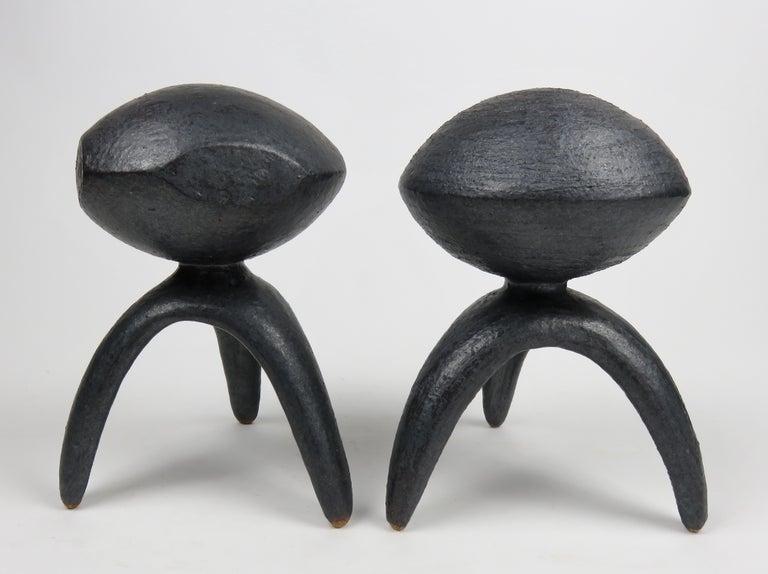 Glazed Pair of Metallic Ceramic Modern TOTEMS, Hand Built by Artist Helena Starcevic For Sale