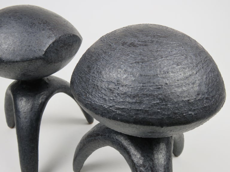Contemporary Pair of Metallic Ceramic Modern TOTEMS, Hand Built by Artist Helena Starcevic For Sale