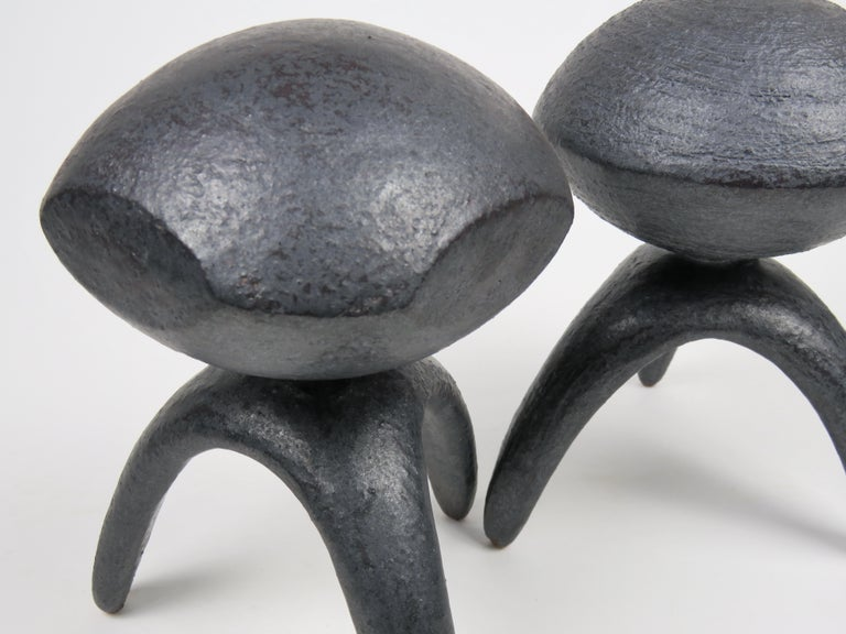 Pair of Metallic Ceramic Modern TOTEMS, Hand Built by Artist Helena Starcevic For Sale 1