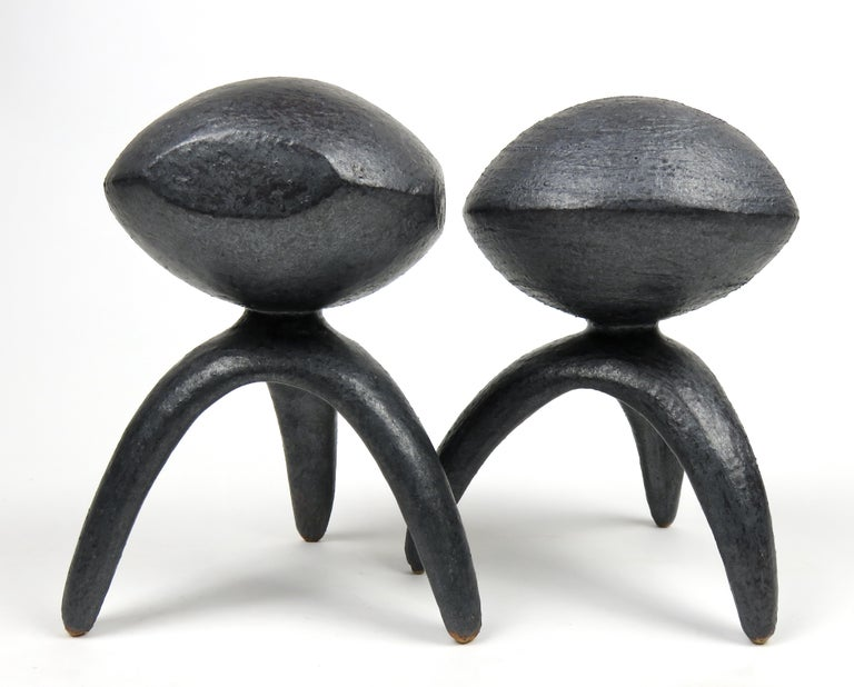 Pair of Metallic Ceramic Modern TOTEMS, Hand Built by Artist Helena Starcevic For Sale 2