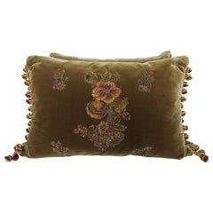 Pair of Metallic & Chenille Embroidered Silk Velvet Pillows by Melissa Levinson