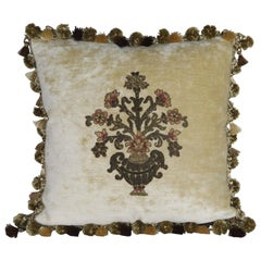 Pair of Metallic Floral Appliqued Velvet Pillows by Melissa Levinson