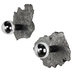 Pair of Meteorite Sconces with Half Chromed Bulbs, 2021 by Christopher Kreiling