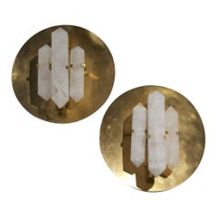 Pair of Metropolis Rock Crystal and Brass Sconces by Jan Garncarek