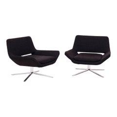 Pair of Metropolitan Grey Fabric Armchairs by Jeffrey Bernett for B&B Italia