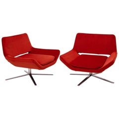 Pair of Metropolitan Orange Velvet Armchairs by Jeffrey Bernett for B&B Italia
