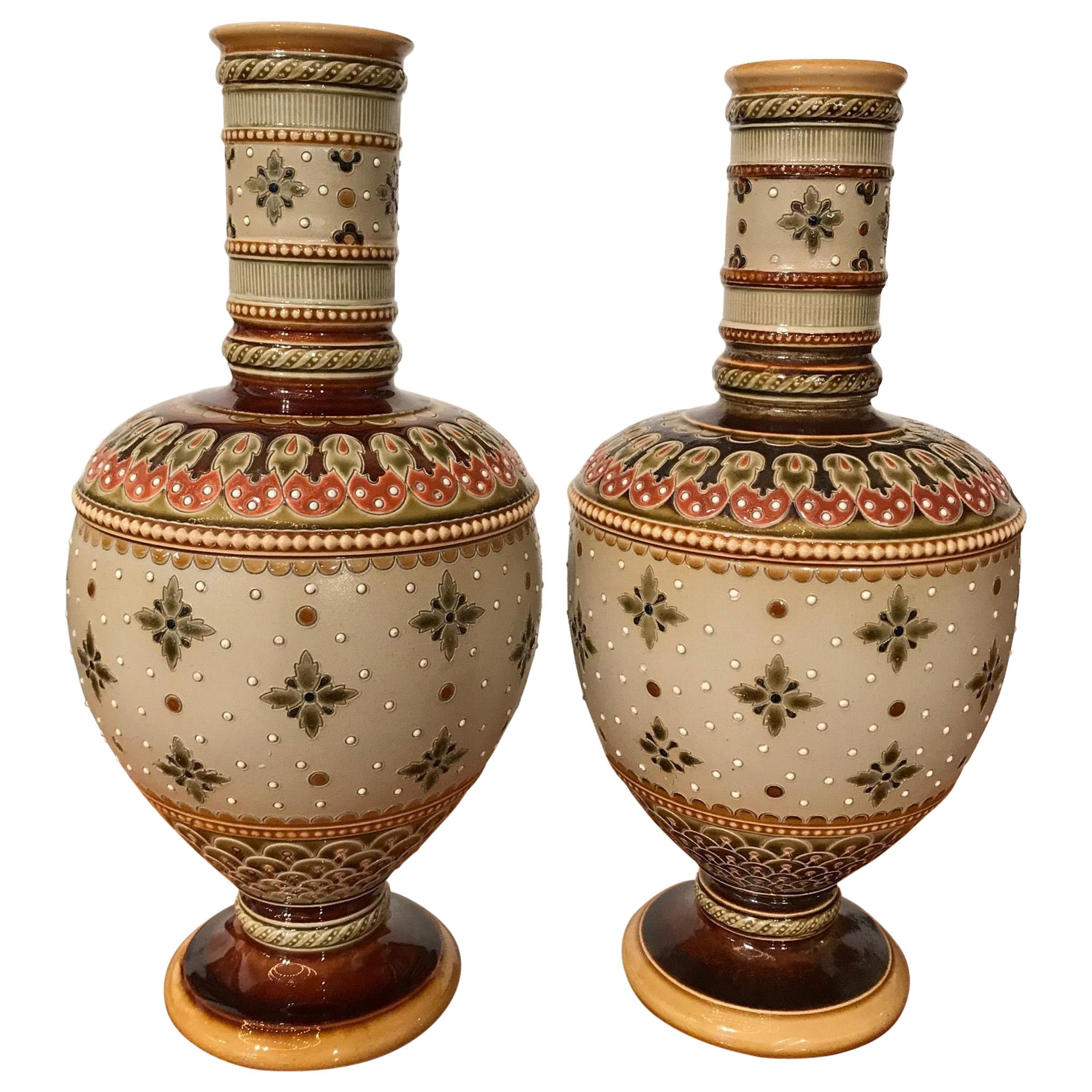 Pair of Mettlach Vases by Villeroy & Boch, circa 1900