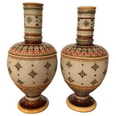 Pair of Mettlach Vases by Villeroy & Boch, circa 1900