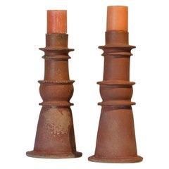Pair of Mexican Antique Clay Candleholders