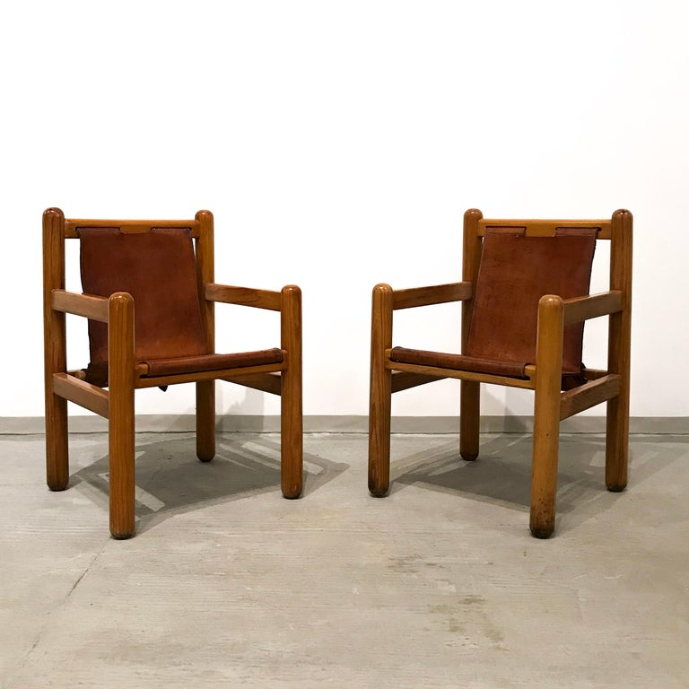 Leather Pair of Mexican Armchairs For Sale