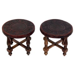Pair of Mexican Embossed Leather End Tables or Stools