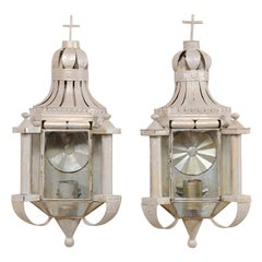 Pair of Mexican Folk Art Candle Wall Sconces, in Lovely Reliquary Design