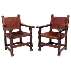 Pair of Mexican Leather Armchairs