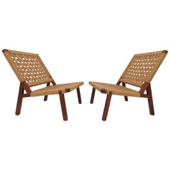 Pair of Mexican Modernist Lounge Chairs Attributed to Clara Porset, circa 1950s