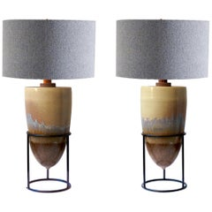 Pair of Mexican Modernist Pottery Table Lamps