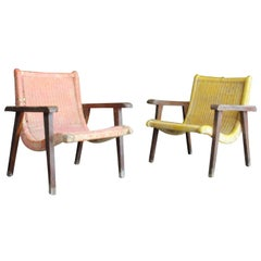 Pair of Mexican Wood and Cane Armchairs, 1950s