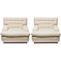 Pair of Mexico Lounge Chairs by Arne Norell in White Boucle