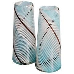 Pair of Mezza Filigrana Murano Glass Vases, circa 1950