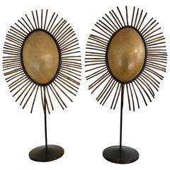 Pair of Mica and Bamboo Tribal Style Pendant Lamps