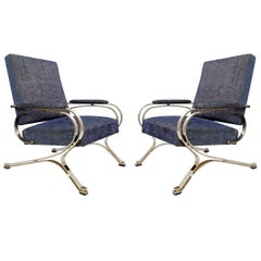 """Pair of """"Micaela"""" Armchairs by Gianni Moscatelli, Formanova, 1970s, New Upholst"""