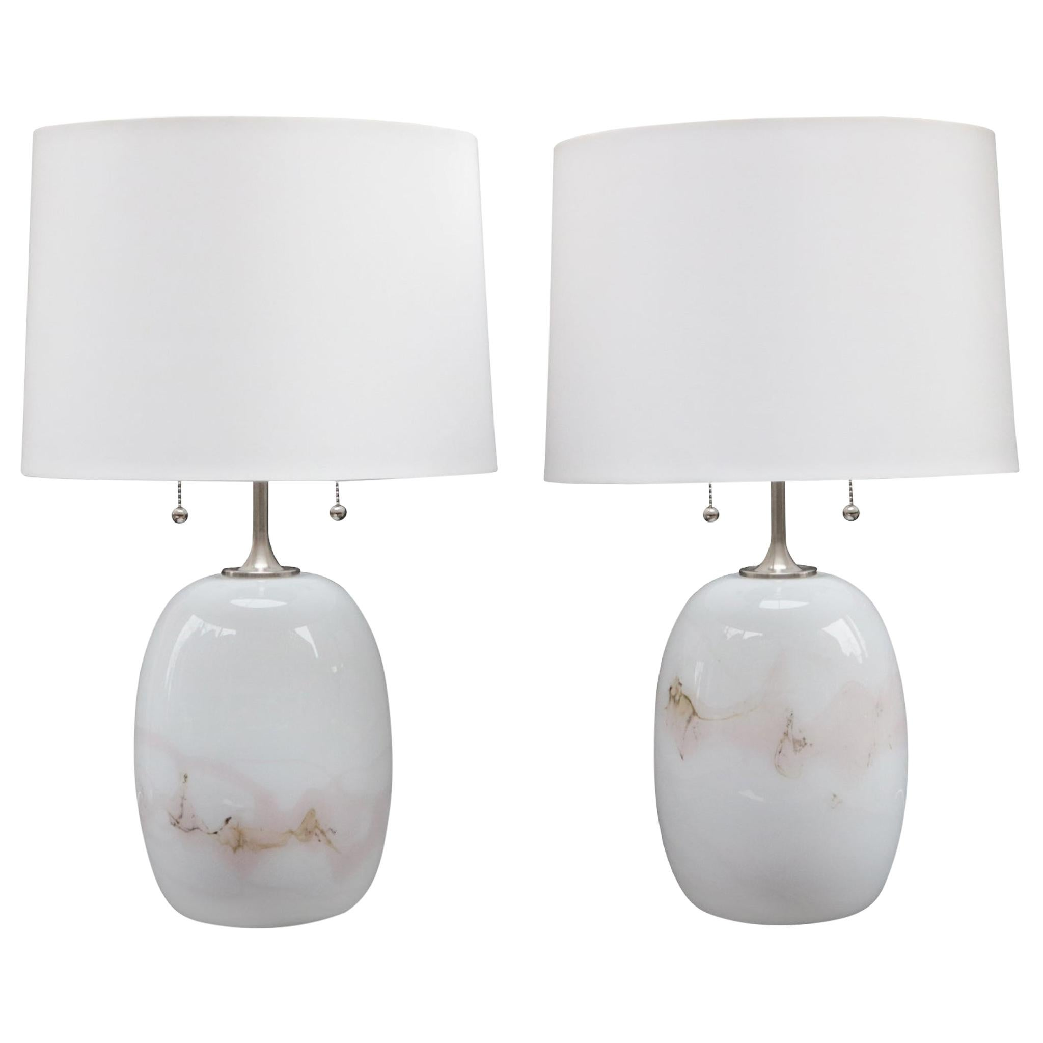 Pair of Michael Bang Art Glass Table Lamps
