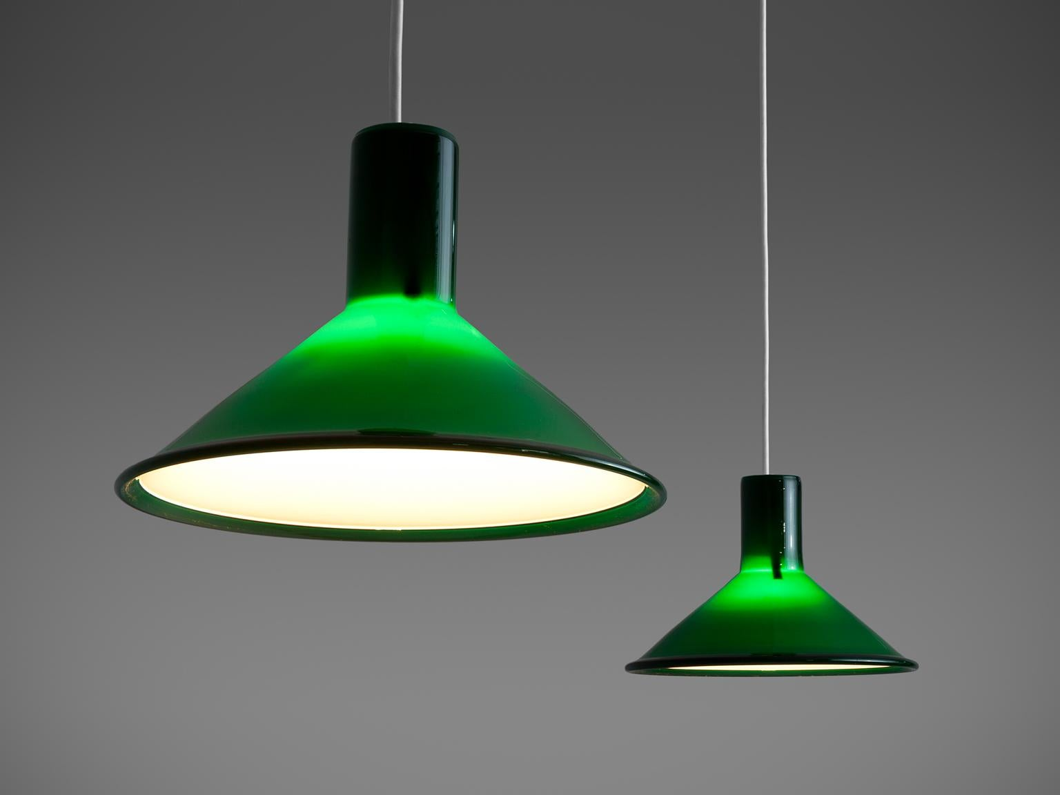 Green glass pendant lighting Sage Green Michael Bang For Holmegaard Pair Of Glass Pendant Lights In Green Glass Denmark 1stdibs Pair Of Michael Bang For Holmegaard Dark Green Pendants For Sale At