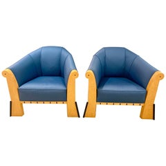Pair of Michael Graves Faceted 1980s Club Lounge Chairs