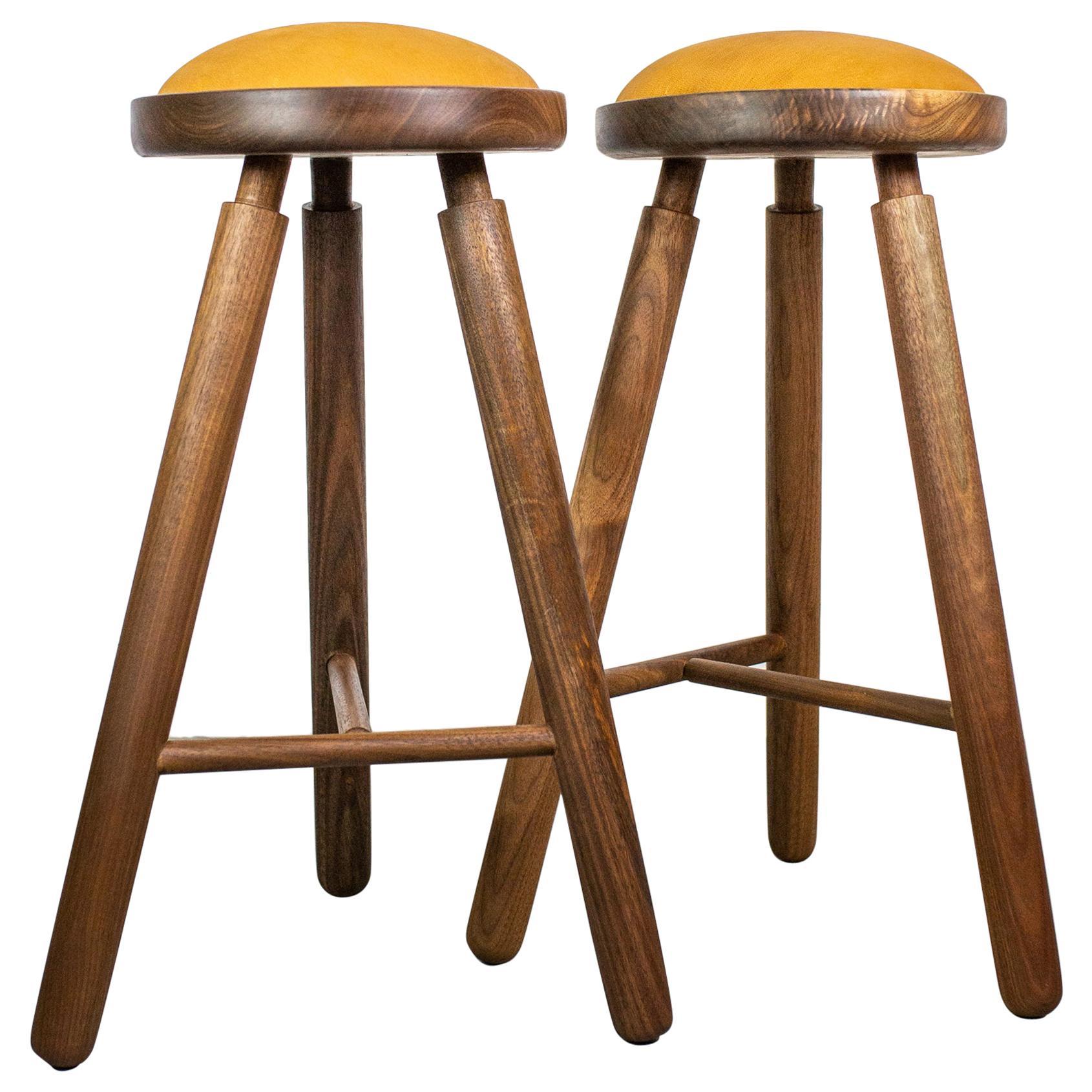 Pair of Michael Rozell Studio Bar Stools Figured Walnut and Leather USA, 2020