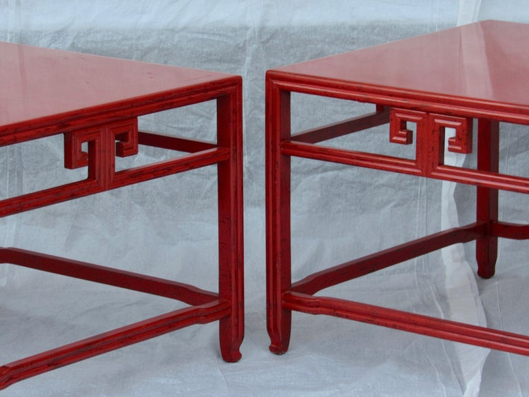 Pair of Michael Taylor Cinnabar Side Tables Baker Far East Collection circa 1960 For Sale 4