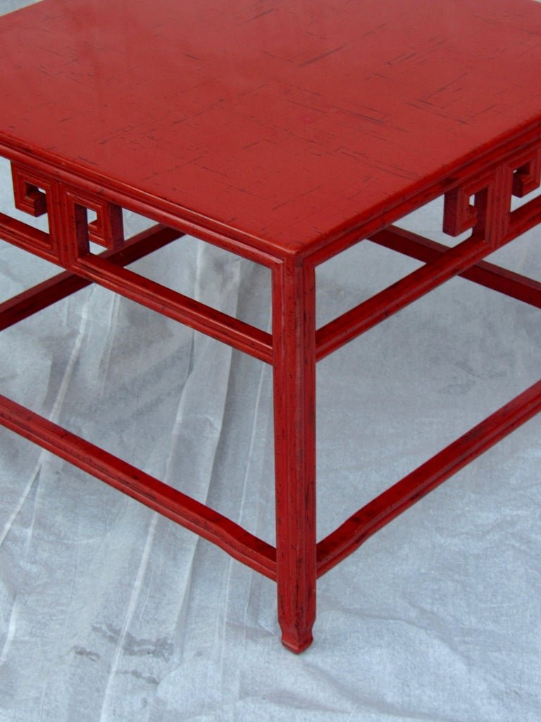 Mid-Century Modern Pair of Michael Taylor Cinnabar Side Tables Baker Far East Collection circa 1960 For Sale