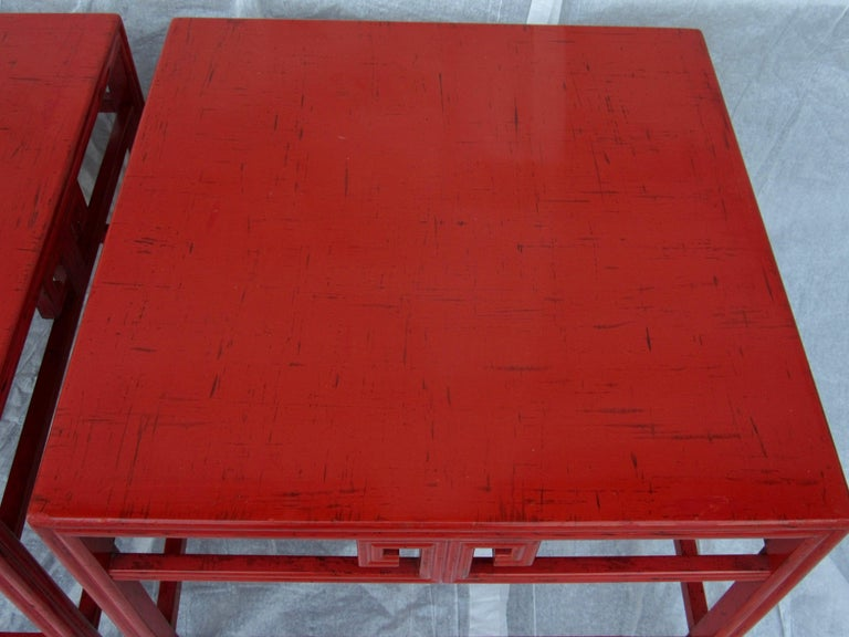 American Pair of Michael Taylor Cinnabar Side Tables Baker Far East Collection circa 1960 For Sale