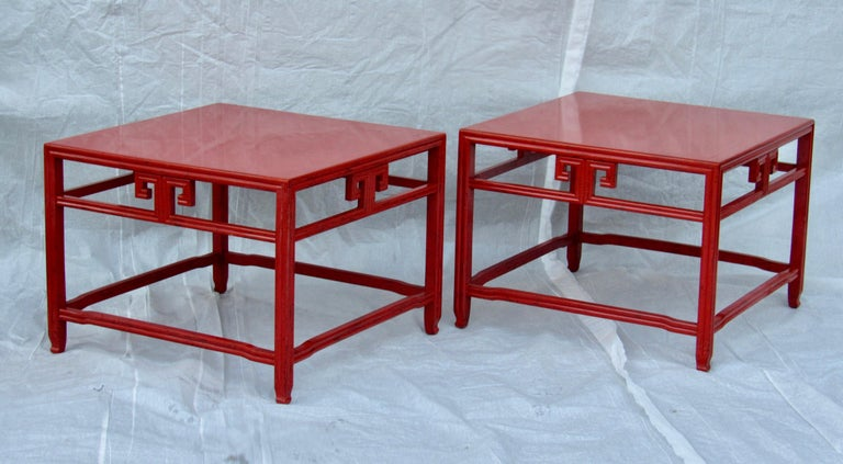 Pair of Michael Taylor Cinnabar Side Tables Baker Far East Collection circa 1960 In Good Condition For Sale In Camden, ME