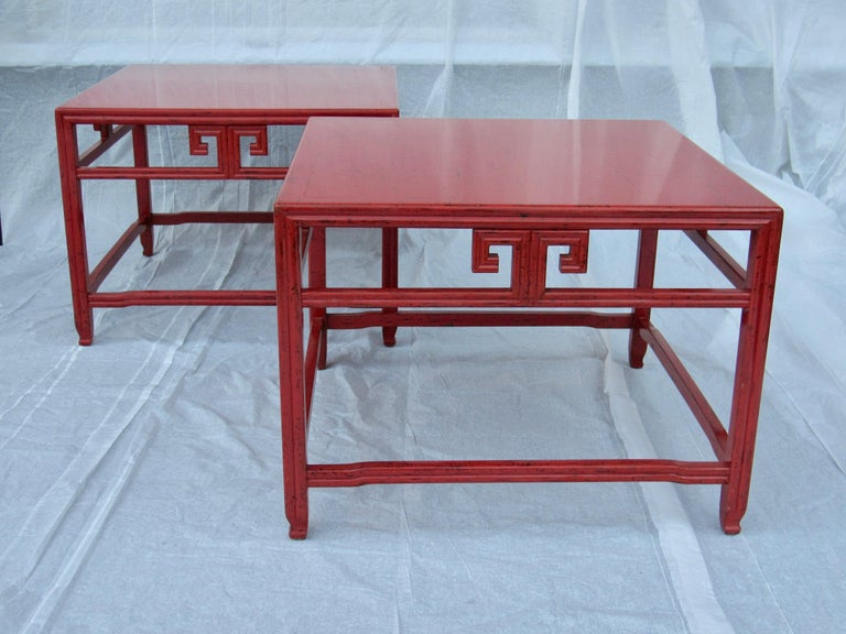 20th Century Pair of Michael Taylor Cinnabar Side Tables Baker Far East Collection circa 1960 For Sale