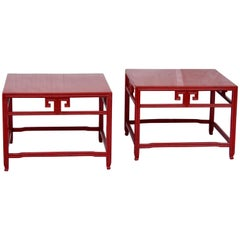Pair of Michael Taylor Cinnabar Side Tables Baker Far East Collection circa 1960