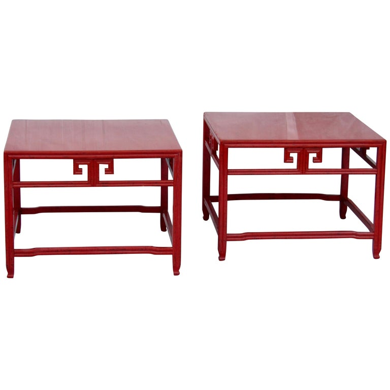Pair of Michael Taylor Cinnabar Side Tables Baker Far East Collection circa 1960 For Sale