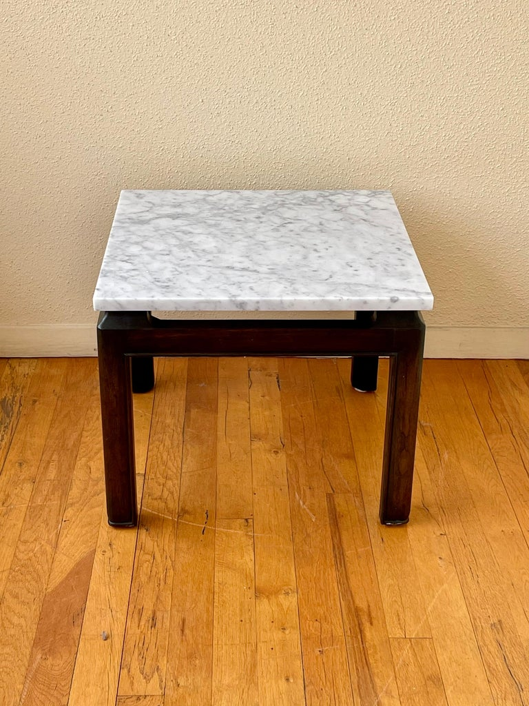 Hollywood Regency Pair of Michael Taylor End Tables in Marble & Wood Base by Baker Furniture For Sale