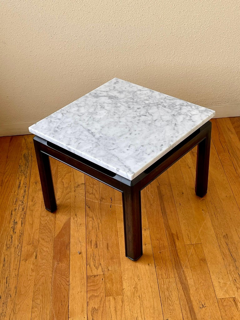American Pair of Michael Taylor End Tables in Marble & Wood Base by Baker Furniture For Sale